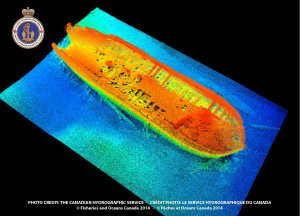 Multibeam image of HMS Erebus produced by the Canadian Hydrographic Service. The ship image is false-coloured using different palettes in order to highlight key features, depth and shape of the shipwreck located in Queen Maud Gulf. Image is generated with the ship's bow facing south-east in direction. (Canadian Hydrographic Service)