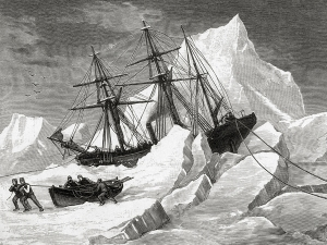 The crew of HMS Intrepid search for Franklin in 1853--and also became trapped in the ice. Public domain