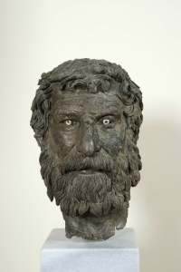 """The Philosopher"" one of the bronze heads recovered in 1900. Image courtesy of the National Archaeological Museum, Athens (K. Xenikakis). Copyright Hellenic Ministry of Culture and Sports/Archaeological Receipts Fund."