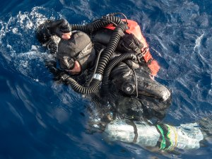Brendan Foley surfaces after his first dive on the Antikythera wreck. Photo: WHOI